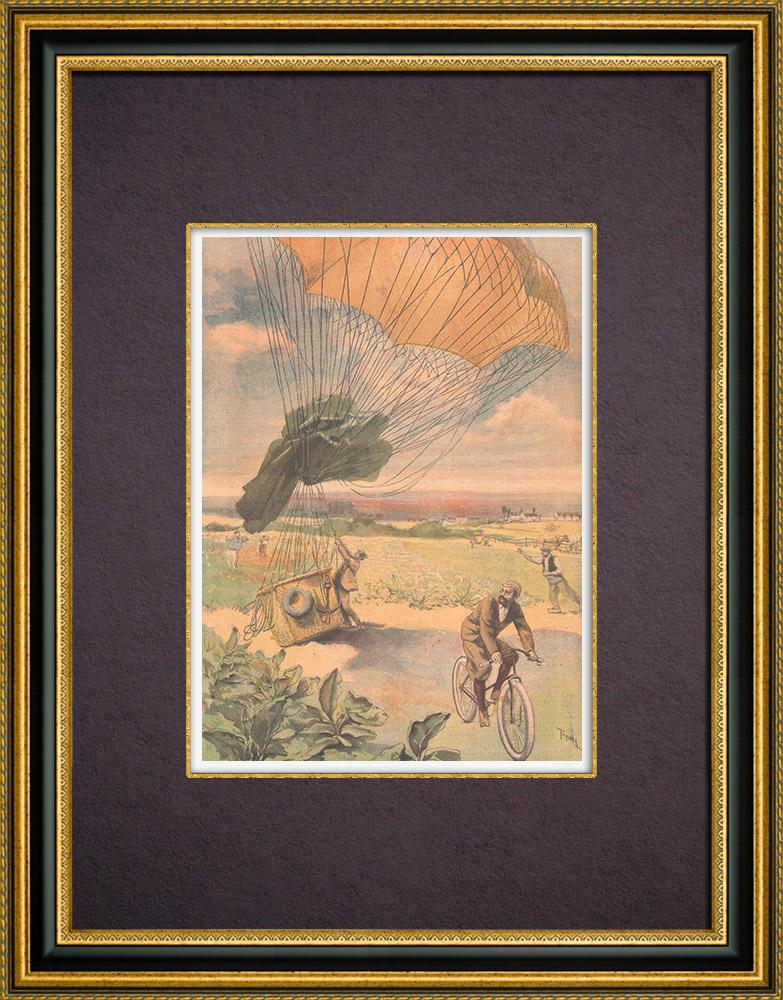 Gravures Anciennes & Dessins | Aérostation - Ballon dirigeable et Cyclisme - 1894 | Gravure sur bois | 1894