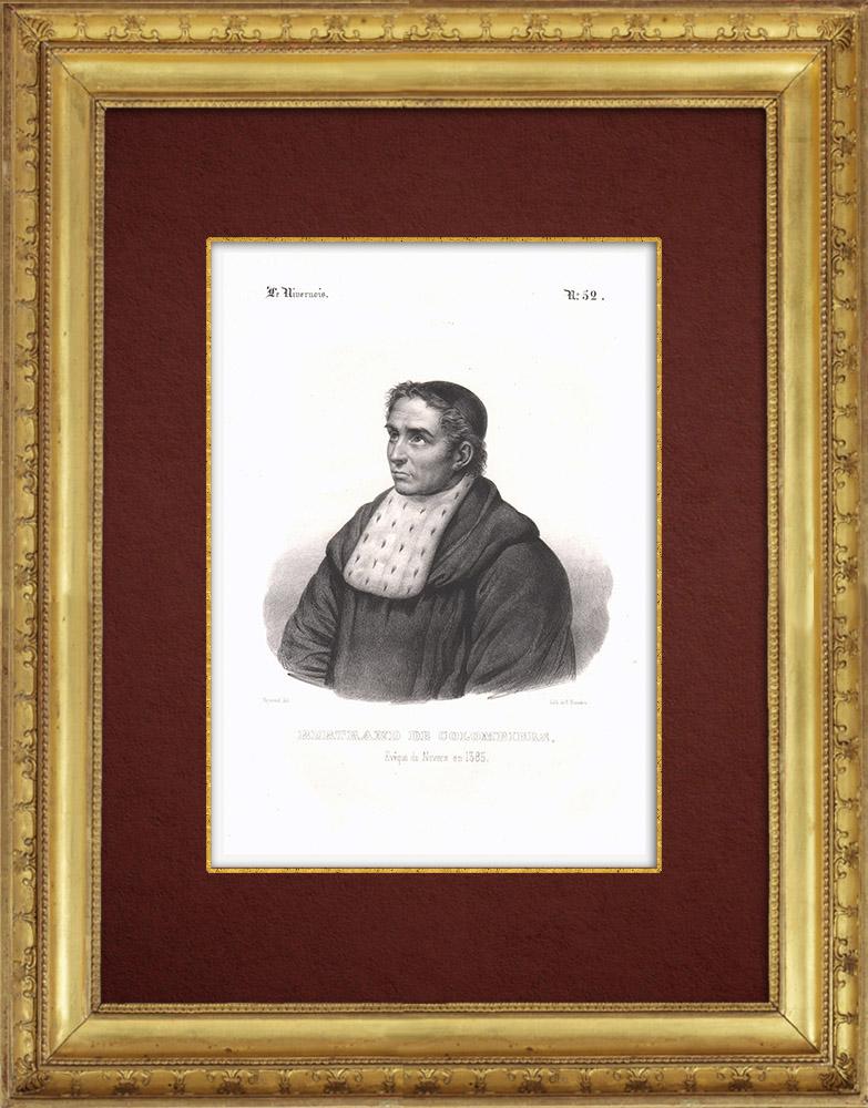 Antique Prints & Drawings | Portrait of Pierre Bertrand de Colombier (1299-1361) | Lithography | 1838