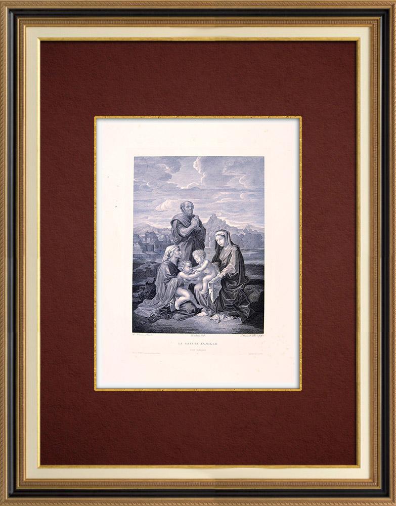 Grabados & Dibujos Antiguos   La Sagrada Familia con San Juan, Santa Isabel y San José (N. Poussin)   Grabado al aguafuerte   1850