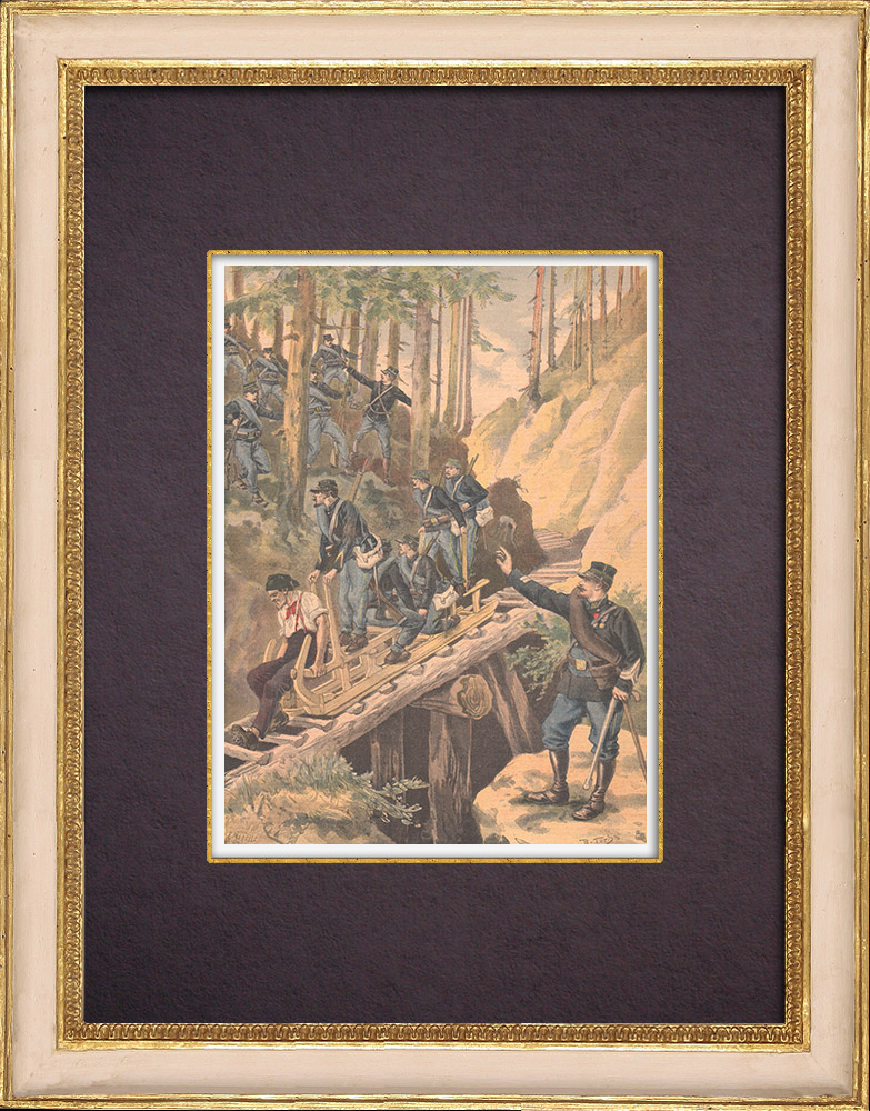 Gravures Anciennes & Dessins | Chasseurs alpins - Manoeuvres de montagne dans les Vosges - XIXème Siècle | Gravure sur bois | 1896