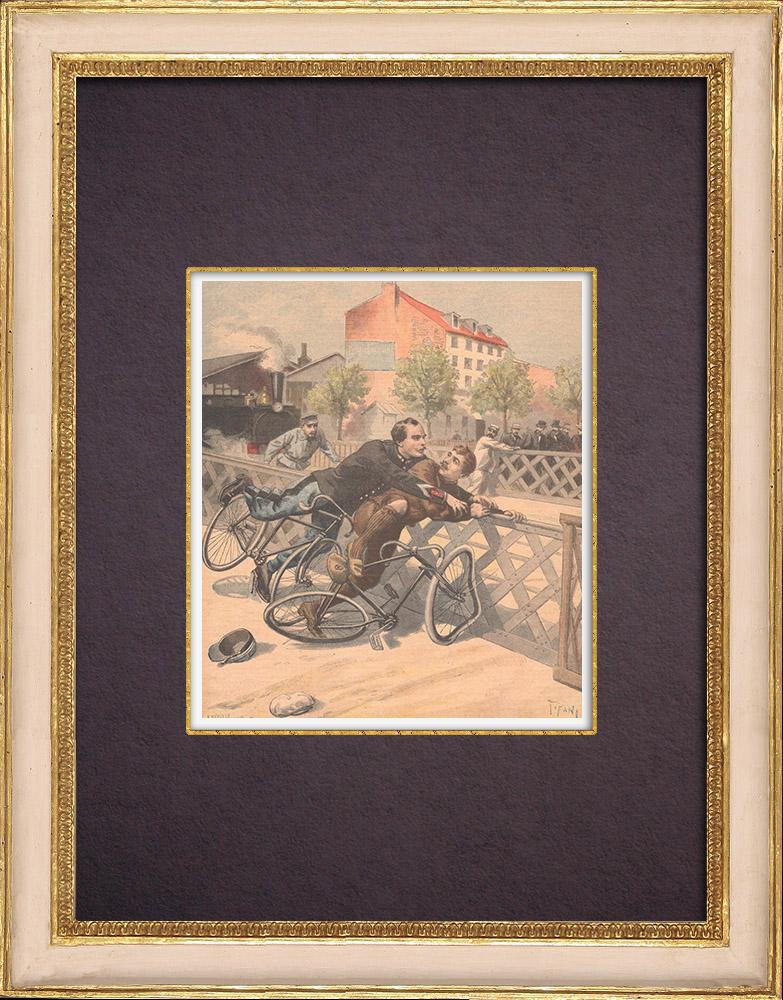 Gravures Anciennes & Dessins | Arrestation d'un voleur à bicyclette | Gravure sur bois | 1896