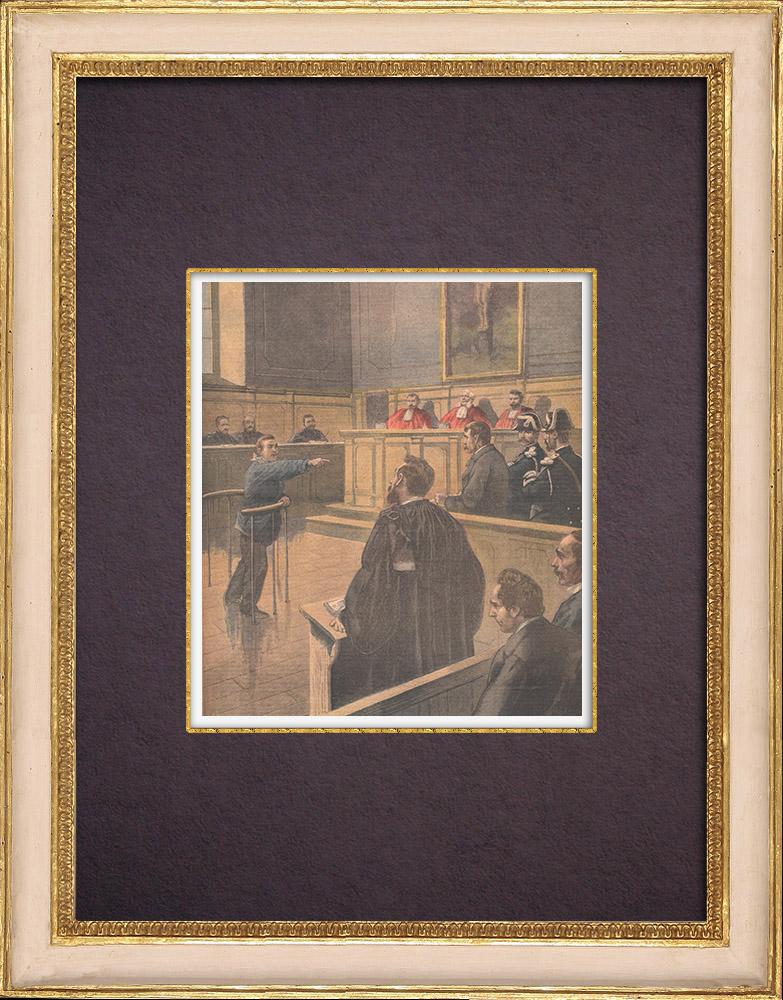 Gravures Anciennes & Dessins   Procès du meurtrier Alfred Pacotte (1896)   Gravure sur bois   1896