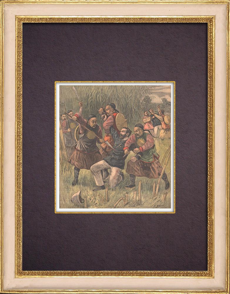 Gravures Anciennes & Dessins   Indochine française - Kouang-Tchéou-Wan - Assassinat de deux officiers français (1899)   Gravure sur bois   1899