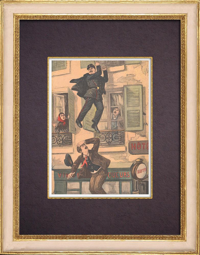 Gravures Anciennes & Dessins   Poursuite de deux voleurs à Montreuil-sous-Bois (1899)    Gravure sur bois   1899