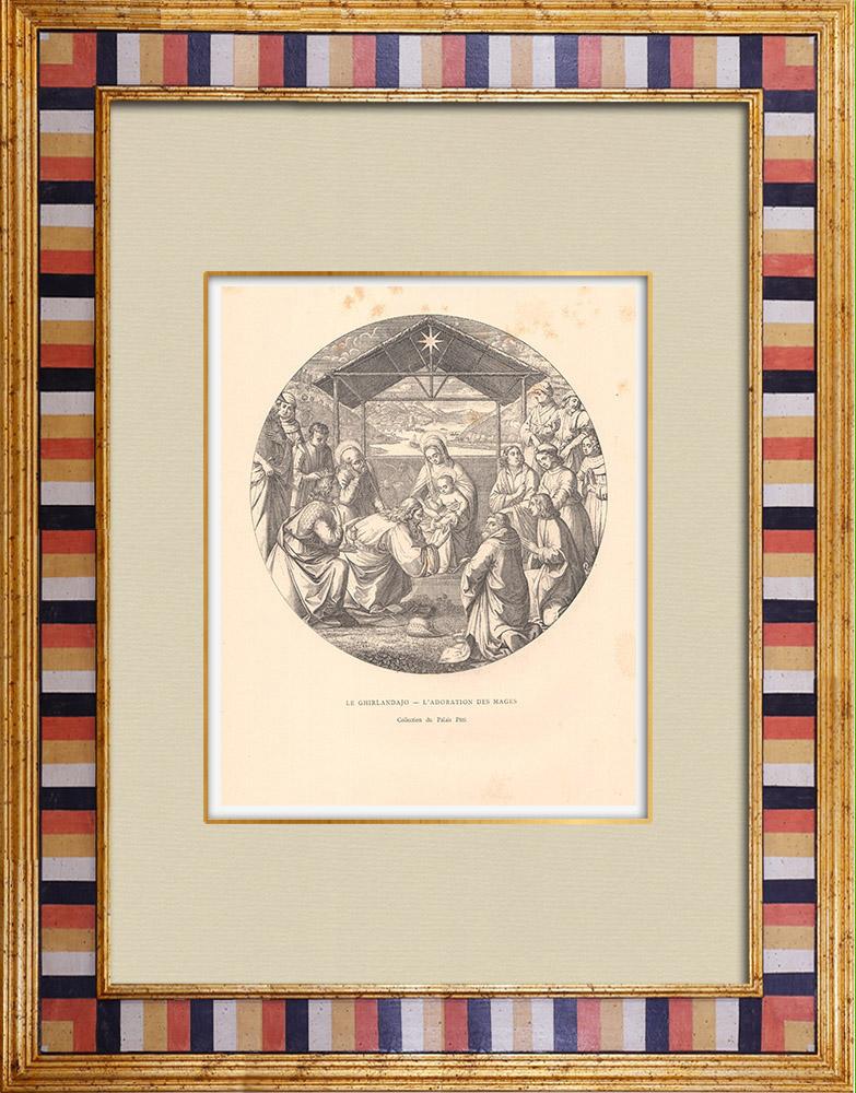 Gravures Anciennes & Dessins   L'Adoration des Mages (Domenico Ghirlandaio)   Gravure sur bois   1881