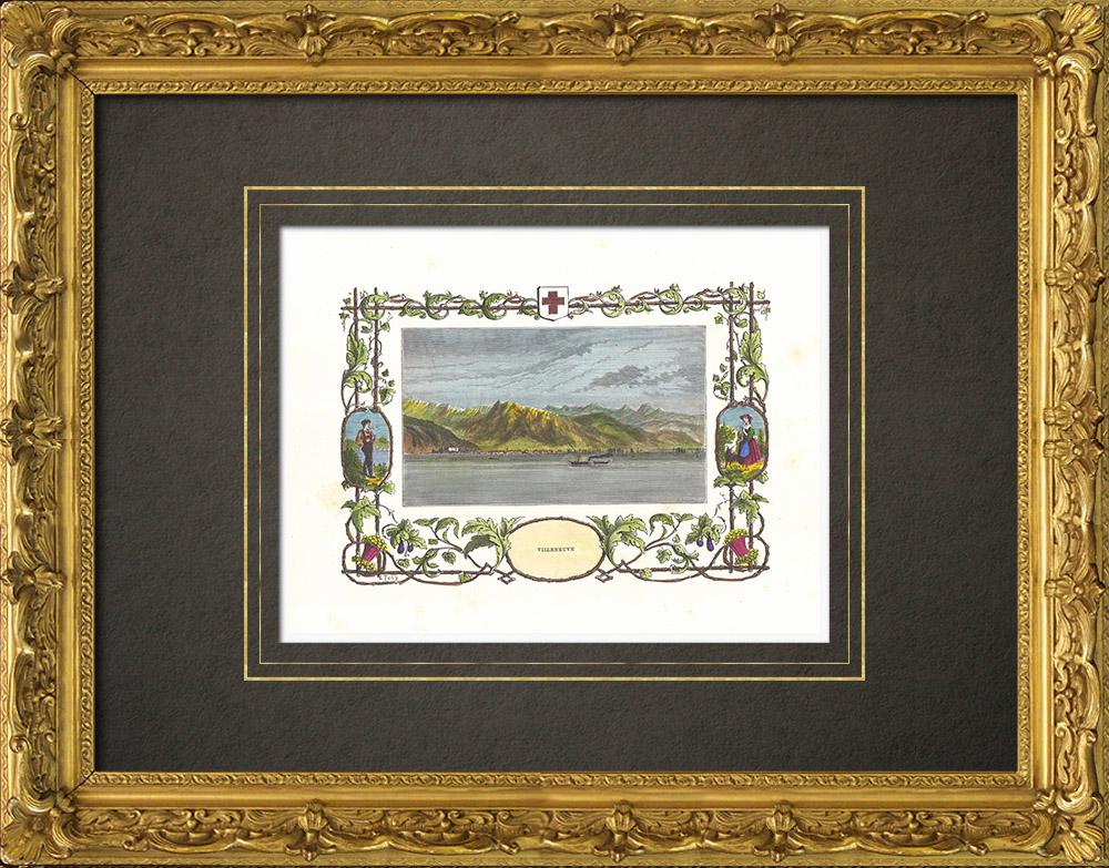 Antique Prints & Drawings   View of Villeneuve - Canton de Vaud - Lake Geneva - Lake Léman (Switzerland)   Wood engraving   1880