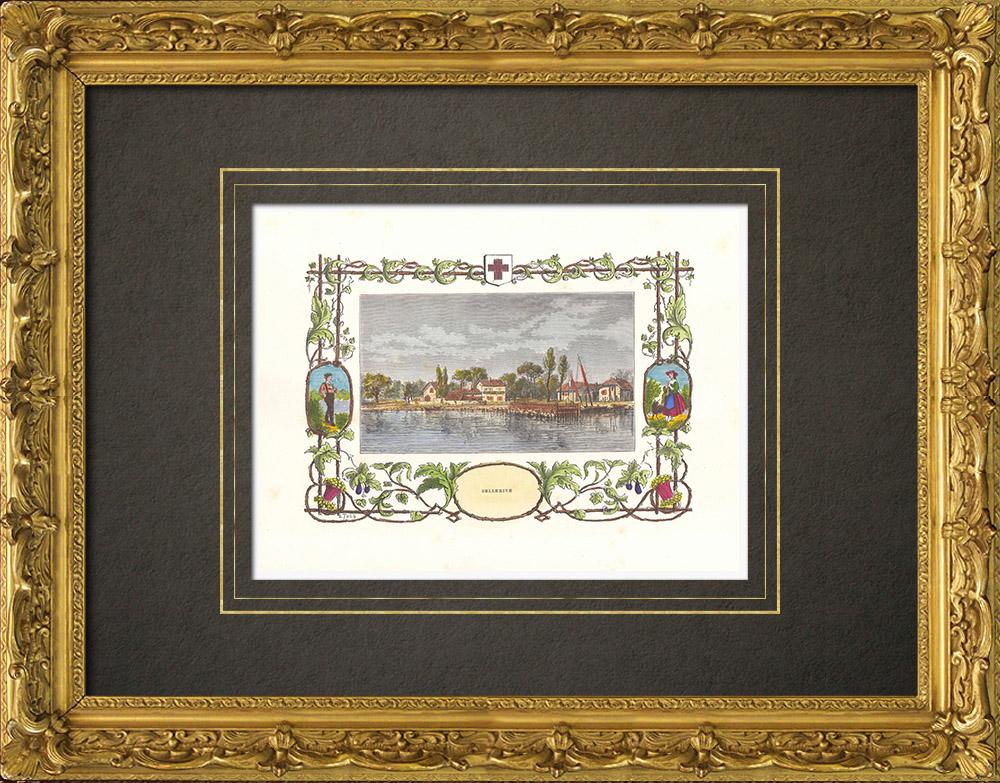 Antique Prints & Drawings | View of Bellerive - Canton de Vaud (Switzerland) | Wood engraving | 1880