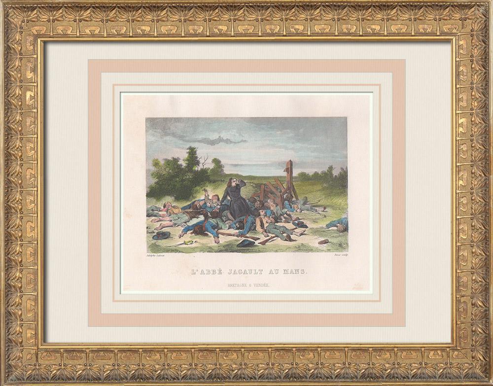 Gravures Anciennes & Dessins | Révolution française - Soulèvement de la Vendée - Abbé Jagault - Bataille du Mans (1793) | Taille-douce | 1845