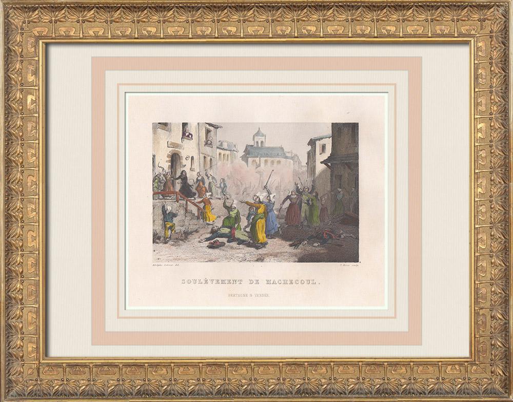Gravures Anciennes & Dessins | Guerre de Vendée - Soulèvement et massacre de Machecoul (1793) | Taille-douce | 1845
