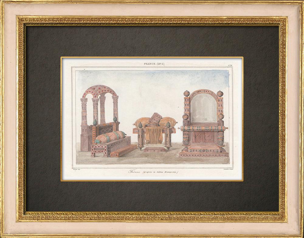 Antique Prints & Drawings   Thrones - IXth Century - According to a Greek manuscript - France   Intaglio print   1845