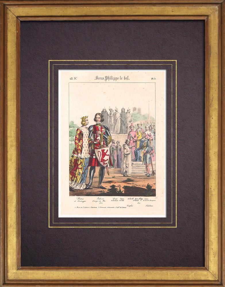 Grabados & Dibujos Antiguos | Moda Francesa y Trajes - Siglo XIII - Escudero del Rey - Beatrice de Borgoña | Litografía | 1838