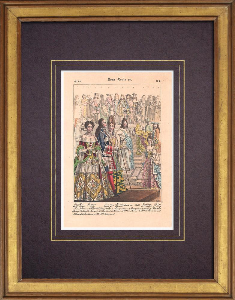 Grabados & Dibujos Antiguos   Moda Francesa y Trajes - Siglo XVII-XVIII - Luis XIV - Princeza - Marquesa de Seignelay   Litografía   1838