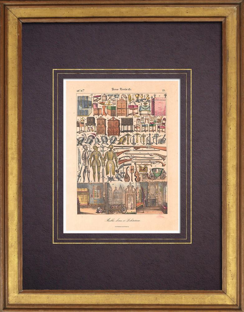 Gravures Anciennes & Dessins | Art Français - XVIIème Siècle - Meubles - Armes - Architecture (Louis XIII) | Lithographie | 1838