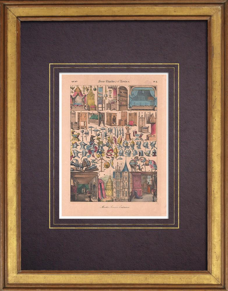 Gravures Anciennes & Dessins   Art Français - XVème Siècle - Meubles - Armes - Architecture   Lithographie   1838