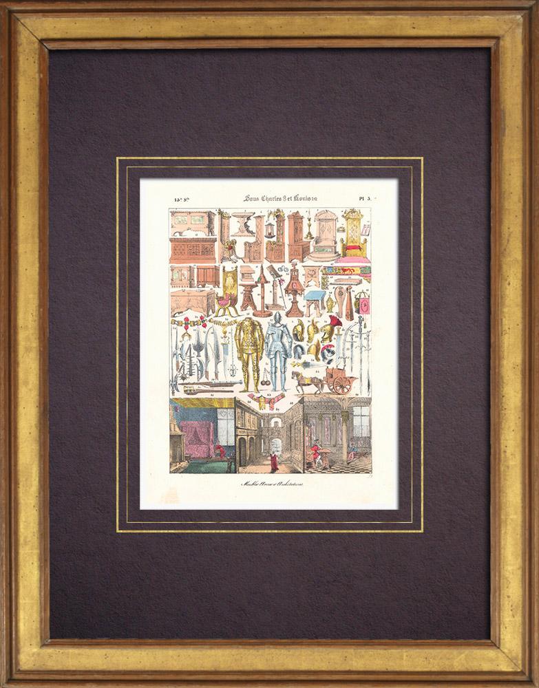Gravures Anciennes & Dessins   Art Français - XVème Siècle - Meubles - Armes - Architecture (Charles VIII - Louis XII)   Lithographie   1838