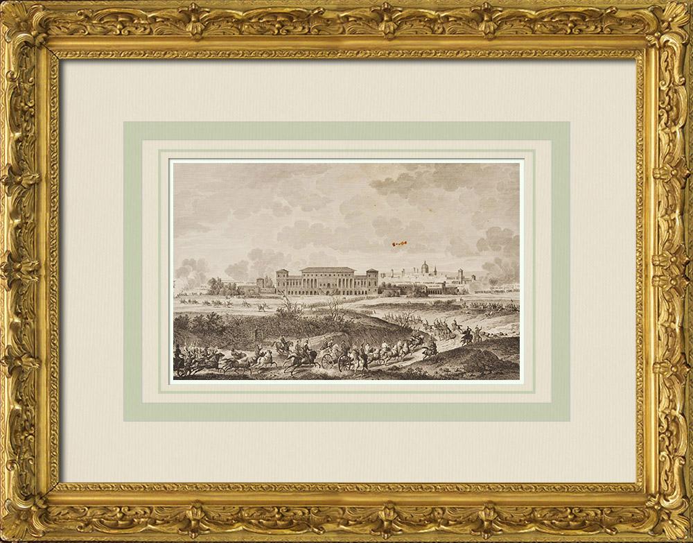 Gravures Anciennes & Dessins   Armée Autrichienne vs Armée Française - Napoléon Bonaparte - Bataille de La Favorite (16 Janvier 1797)   Gravure à l'eau-forte   1855