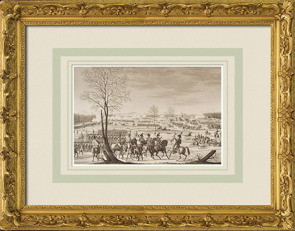 Grabados & Dibujos Antiguos   Guerras Revolucionarias Francesas - Batalla de Hohenlinden - Moreau (1800)   Grabado al aguafuerte   1855