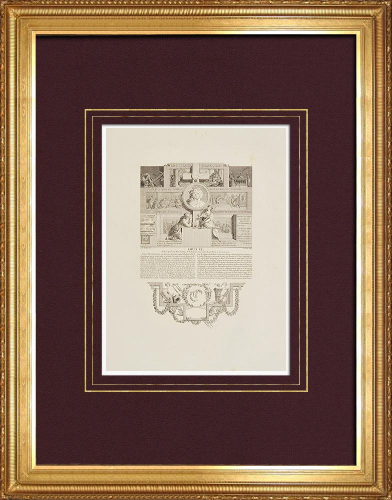 Gravures Anciennes & Dessins | Portrait de Louis IX (1215-1270) - Blanche de Castille - Justice - Croisade  | Taille-douce | 1850