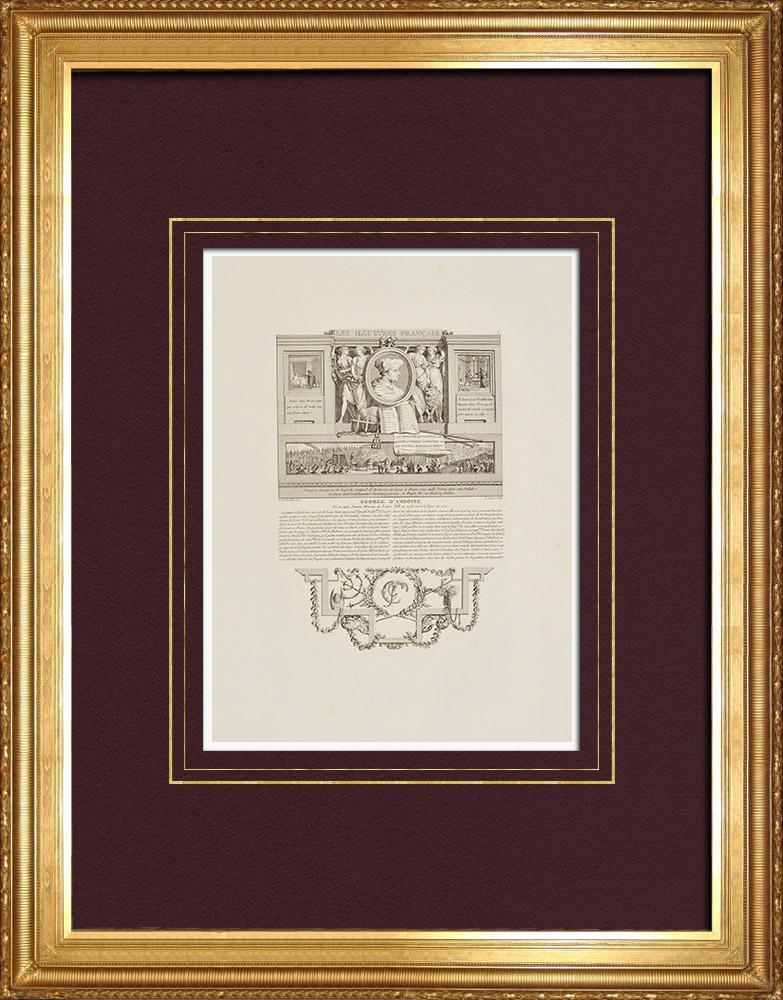 Antique Prints & Drawings   Portrait of Georges d'Amboise (1460-1510)   Intaglio print   1850