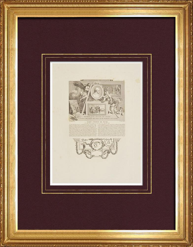Gravures Anciennes & Dessins | Portrait de Saint Vincent de Paul (1581-1660) - Ange | Taille-douce | 1850