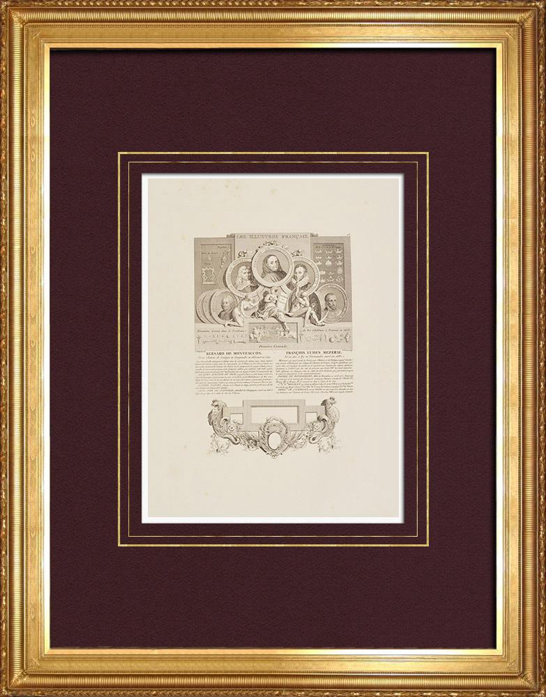 Gravures Anciennes & Dessins   Portraits - de Montfaucon - de Mézeray - de Thou - Brantôme - Hénault   Taille-douce   1850