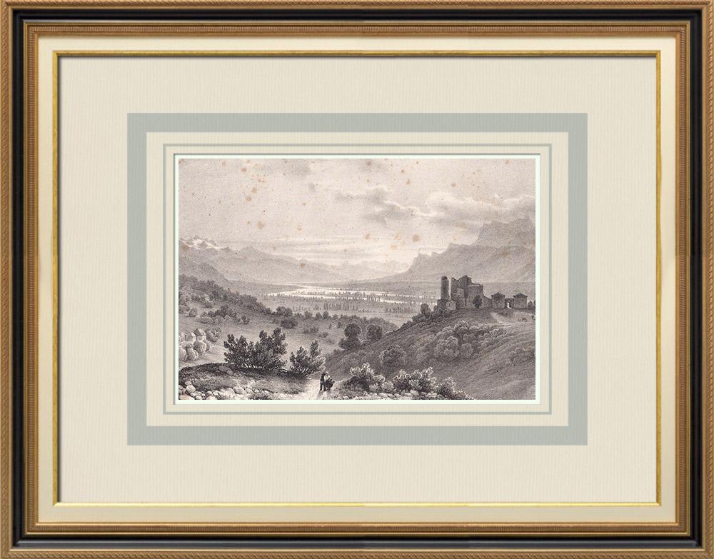 Grabados & Dibujos Antiguos | Vista del Castillo Bayard - Fortificación - Pontcharra - Grésivaudan - Isère (Francia) | Litografía | 1836
