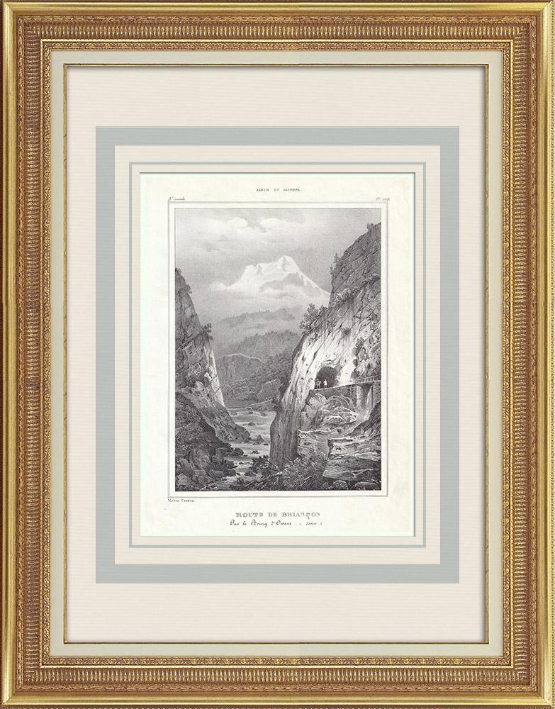Grabados & Dibujos Antiguos   Ruta de Briançon via Le Bourg d'Oisans - Alpes franceses (Francia)   Litografía   1837