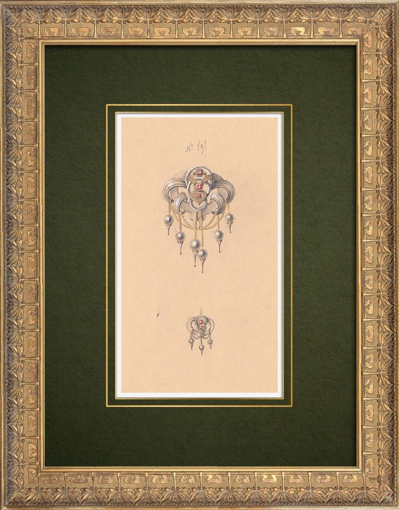 Gravures Anciennes & Dessins   Dessin Préparatoire - Joaillerie - Bijou N°195   Dessin   1910