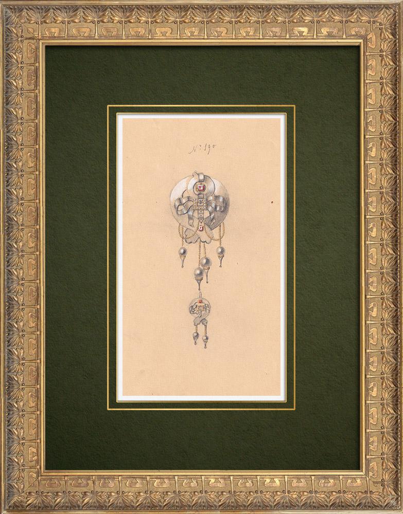 Gravures Anciennes & Dessins | Dessin Préparatoire - Joaillerie - Bijou N°190 | Dessin | 1910