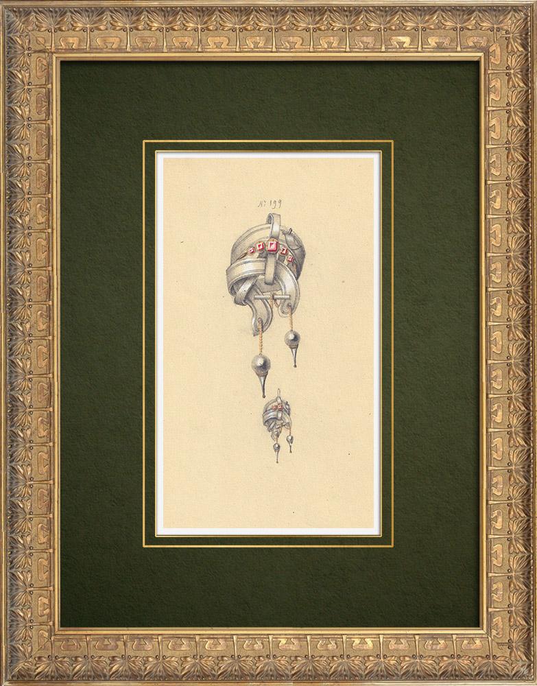 Gravures Anciennes & Dessins   Dessin Préparatoire - Joaillerie - Bijou N°199   Dessin   1910