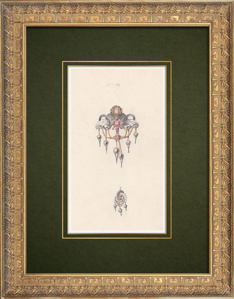 Gravures Anciennes & Dessins   Dessin Préparatoire - Joaillerie - Bijou N°189   Dessin   1910