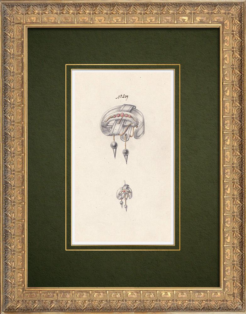 Gravures Anciennes & Dessins | Dessin Préparatoire - Joaillerie - Bijou N°209 | Dessin | 1910
