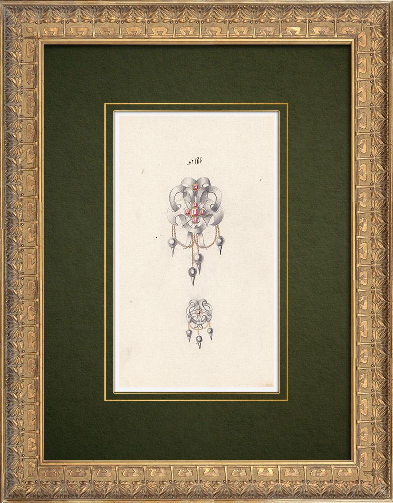 Gravures Anciennes & Dessins   Dessin Préparatoire - Joaillerie - Bijou N°186   Dessin   1910