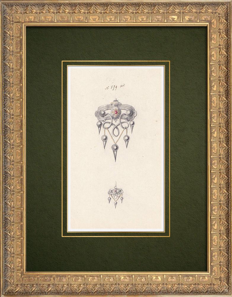 Gravures Anciennes & Dessins | Dessin Préparatoire - Joaillerie - Bijou N°179bis | Dessin | 1910