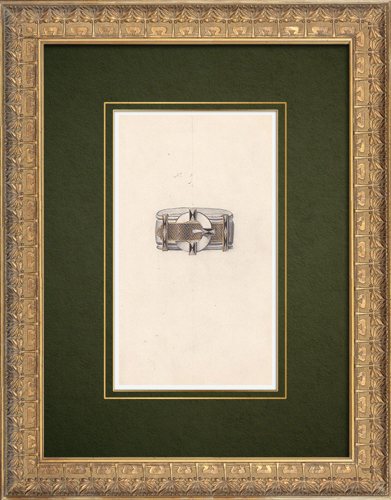 Gravures Anciennes & Dessins | Dessin Préparatoire - Joaillerie - Bijou N°9 | Dessin | 1910