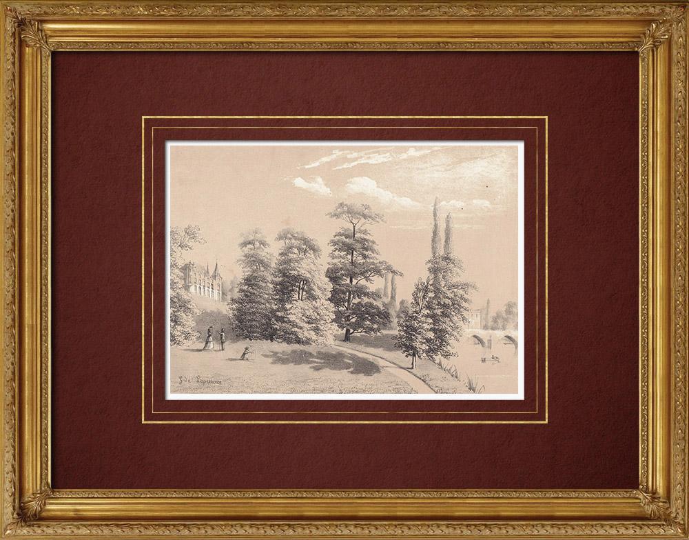 Gravures Anciennes & Dessins   Château de Beauvoir - Loiret (France)   Lithographie   1869