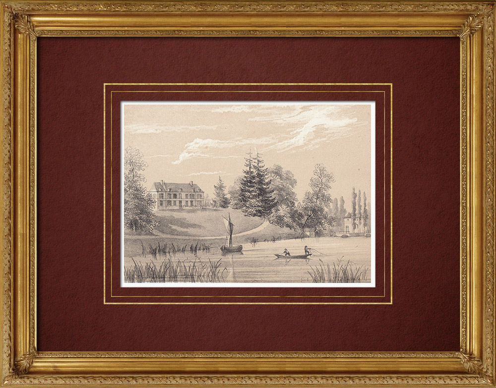 Gravures Anciennes & Dessins   Château d'Isambert - Olivet - Loiret (France)   Lithographie   1869