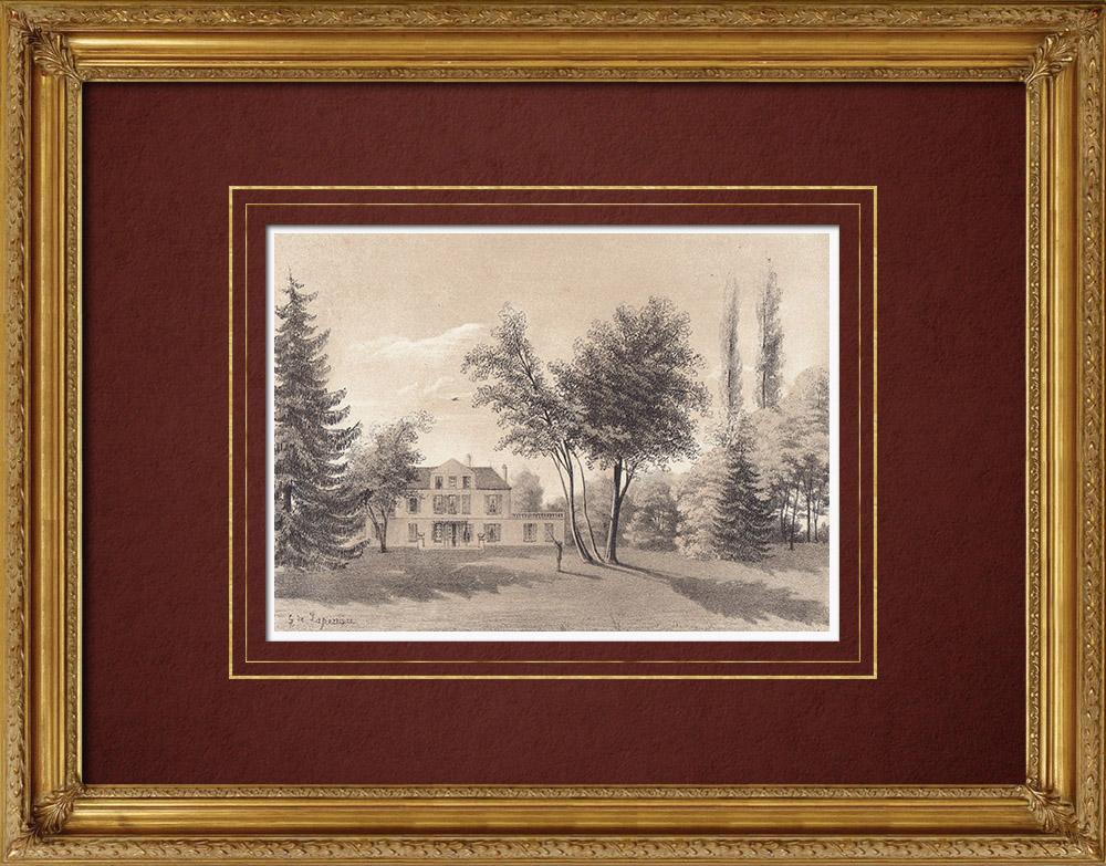 Gravures Anciennes & Dessins | Château de Petit-Bois - Loiret (France) | Lithographie | 1869