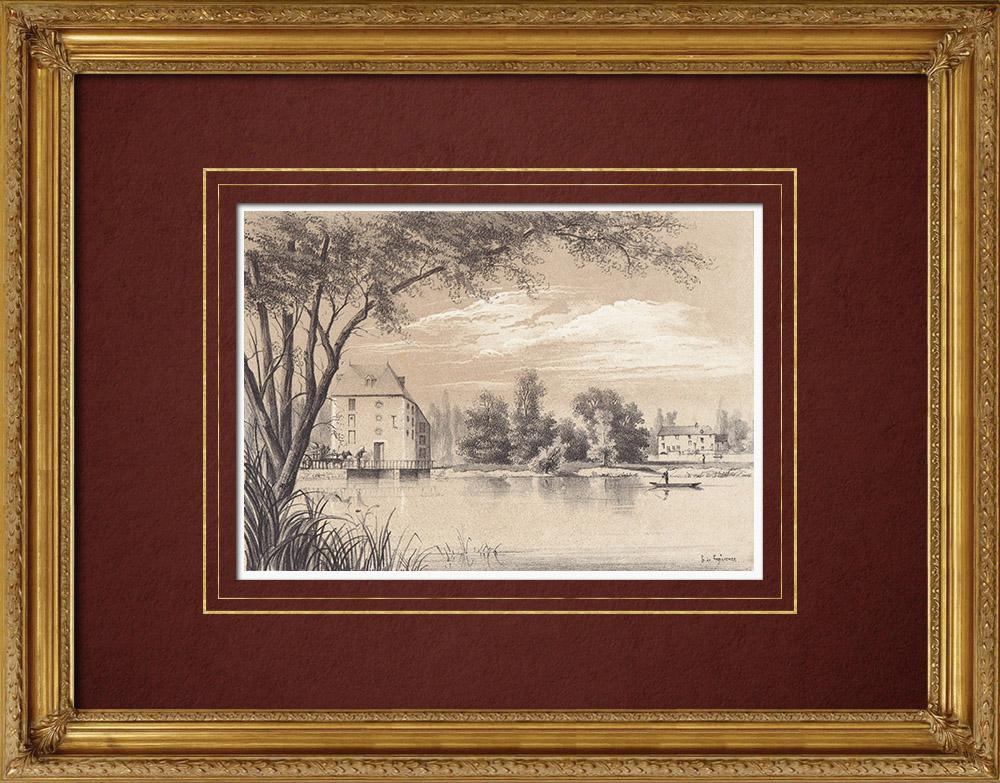 Gravures Anciennes & Dessins | Moulins Saint-Samson et Saint-Julien - Bords du Loiret - Loiret (France) | Lithographie | 1869