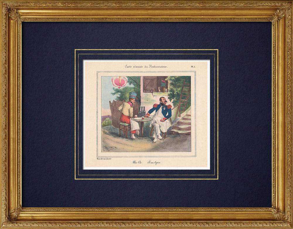 Gravures Anciennes & Dessins | Restaurant - Gastronomie - Vous Etes Ce Que Vous Mangez - Une Oie et un Lapin | Impression | 1950