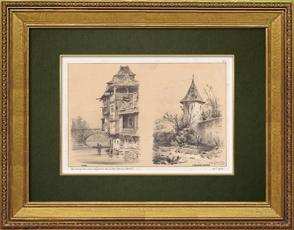 Gravures Anciennes & Dessins | Lorraine - Vue de Metz - Moselle - Vue de Maidières - Meurthe-et-Moselle  (France) | Lithographie | 1856