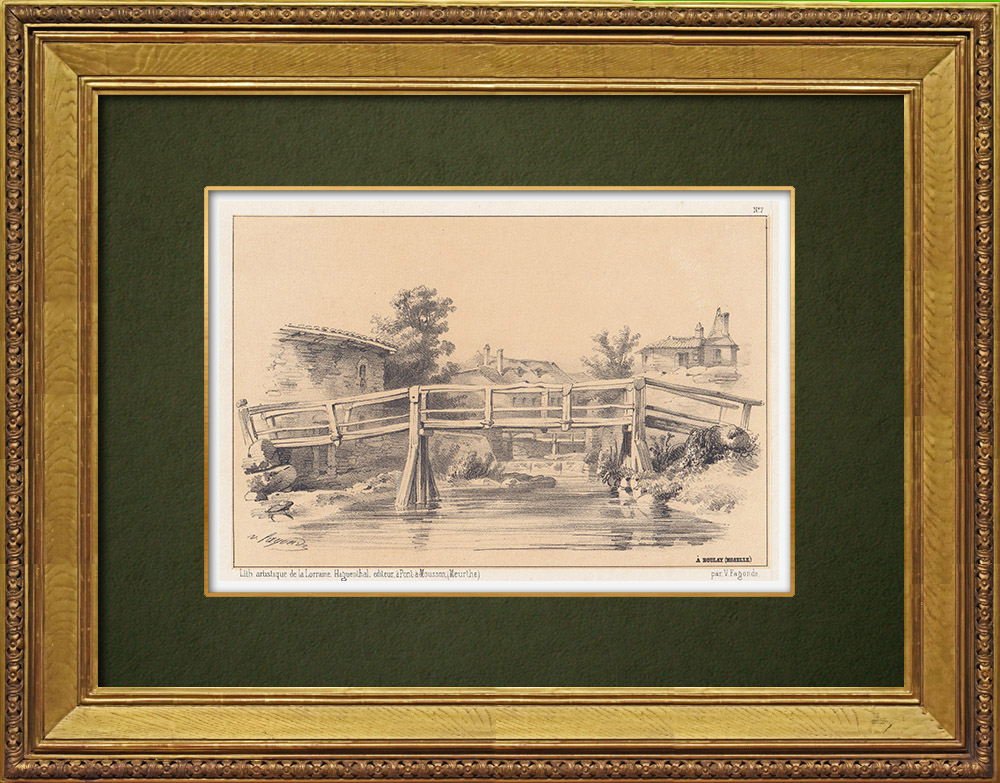 Gravures Anciennes & Dessins | Lorraine - Vue de Boulay-Moselle - Moselle (France) | Lithographie | 1856