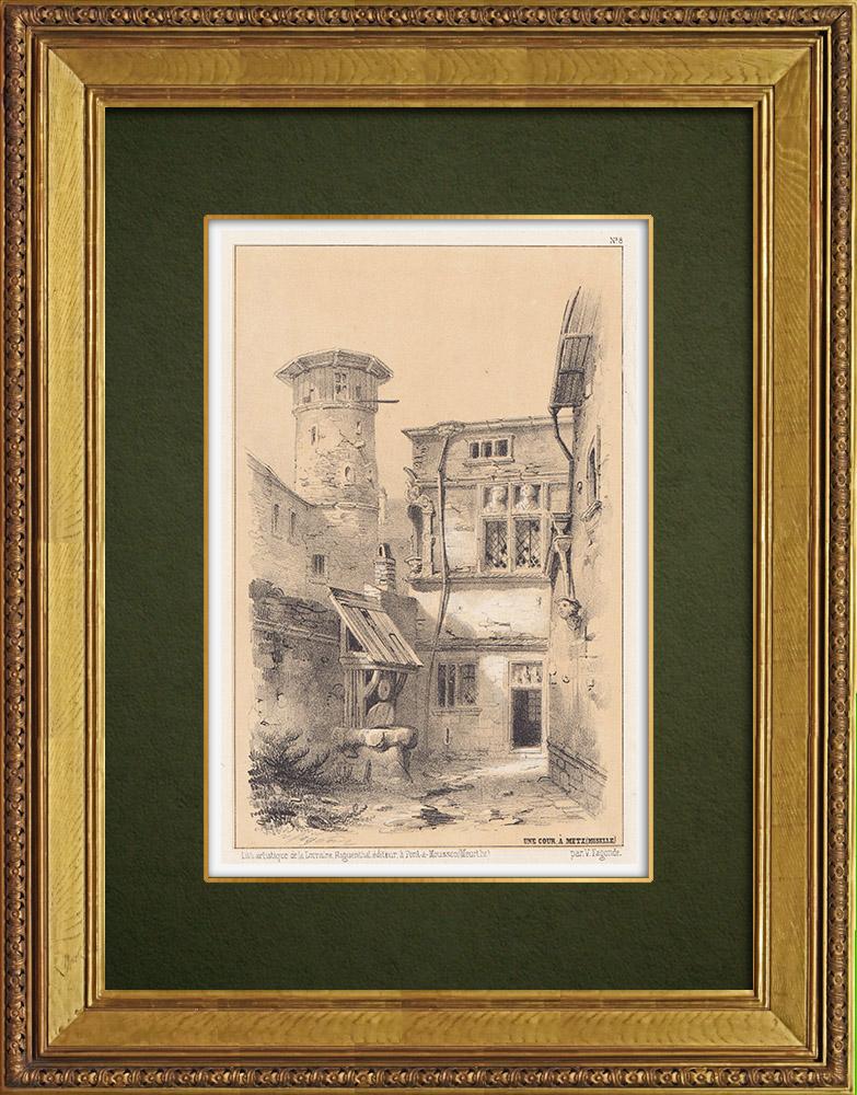 Gravures Anciennes & Dessins | Lorraine - Vue de Metz - Moselle - Une cour (France) | Lithographie | 1856