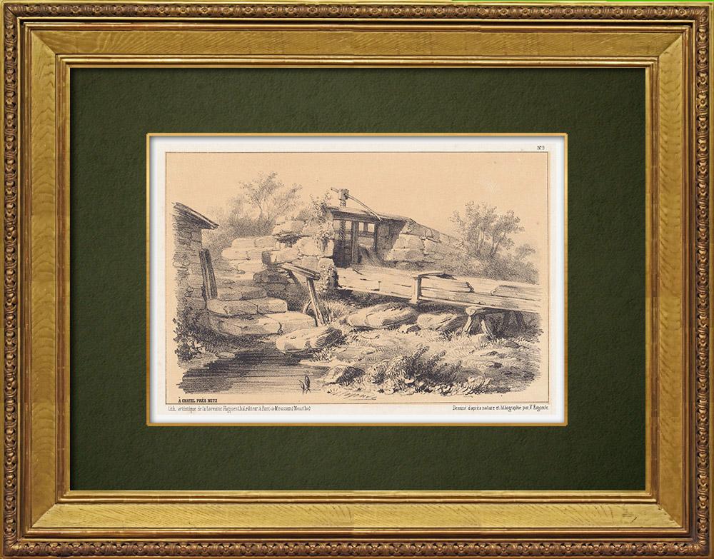 Gravures Anciennes & Dessins | Lorraine - Vue de Châtel-Saint-Germain près de Metz - Moselle (France) | Lithographie | 1856