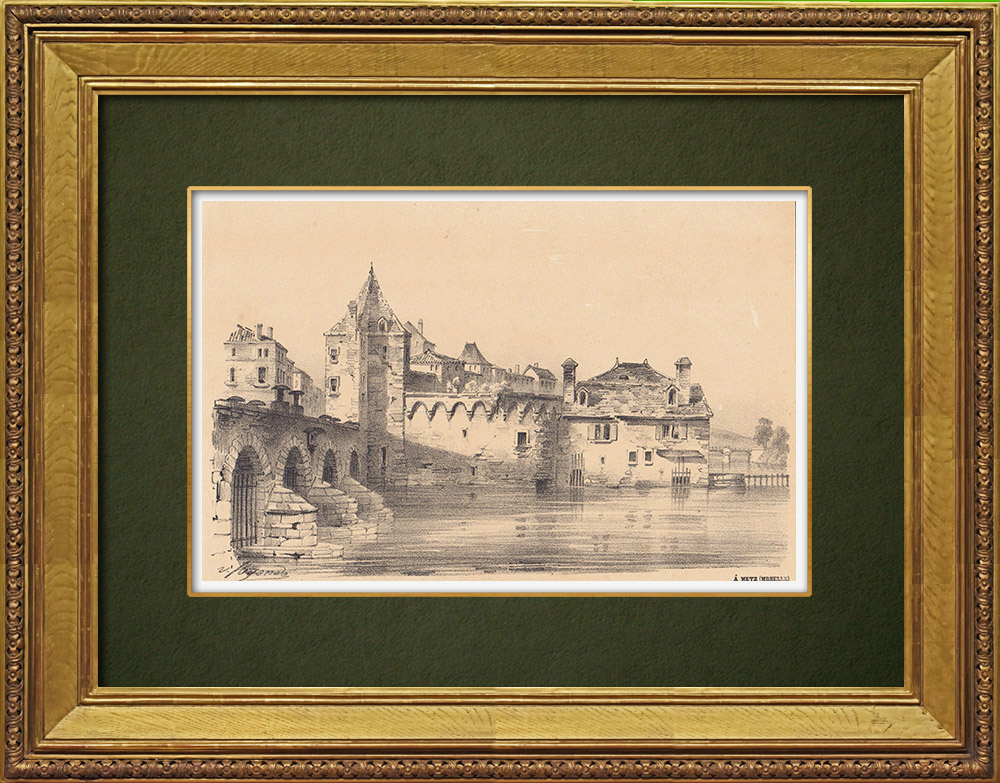 Gravures Anciennes & Dessins   Metz - Fort Moselle - Fortification - Louis de Cormontaigne - Lorraine - Moselle (France)   Lithographie   1856