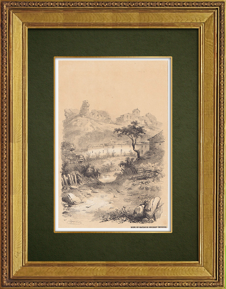 Gravures Anciennes & Dessins | Château de Mousson - Ruines - Lorraine - Meurthe-et-Moselle (France) | Lithographie | 1856