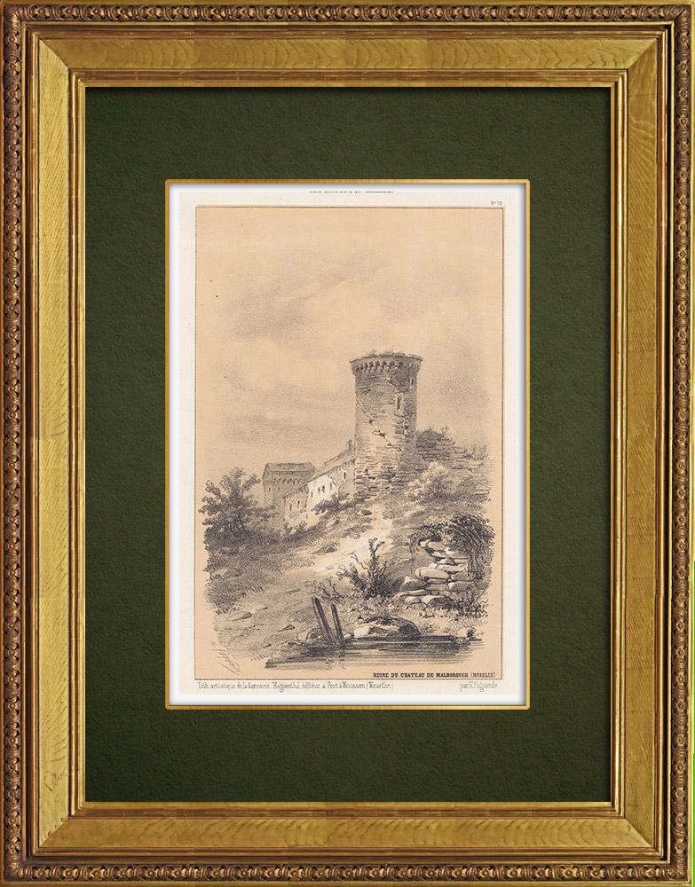 Gravures Anciennes & Dessins | Château de Malbrouck - Tour - Lorraine - Moselle (France) | Lithographie | 1856