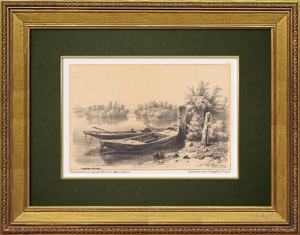 Gravures Anciennes & Dessins | Vue de Montigny-lès-Metz - Seille - Moselle - Lorraine (France) | Lithographie | 1856