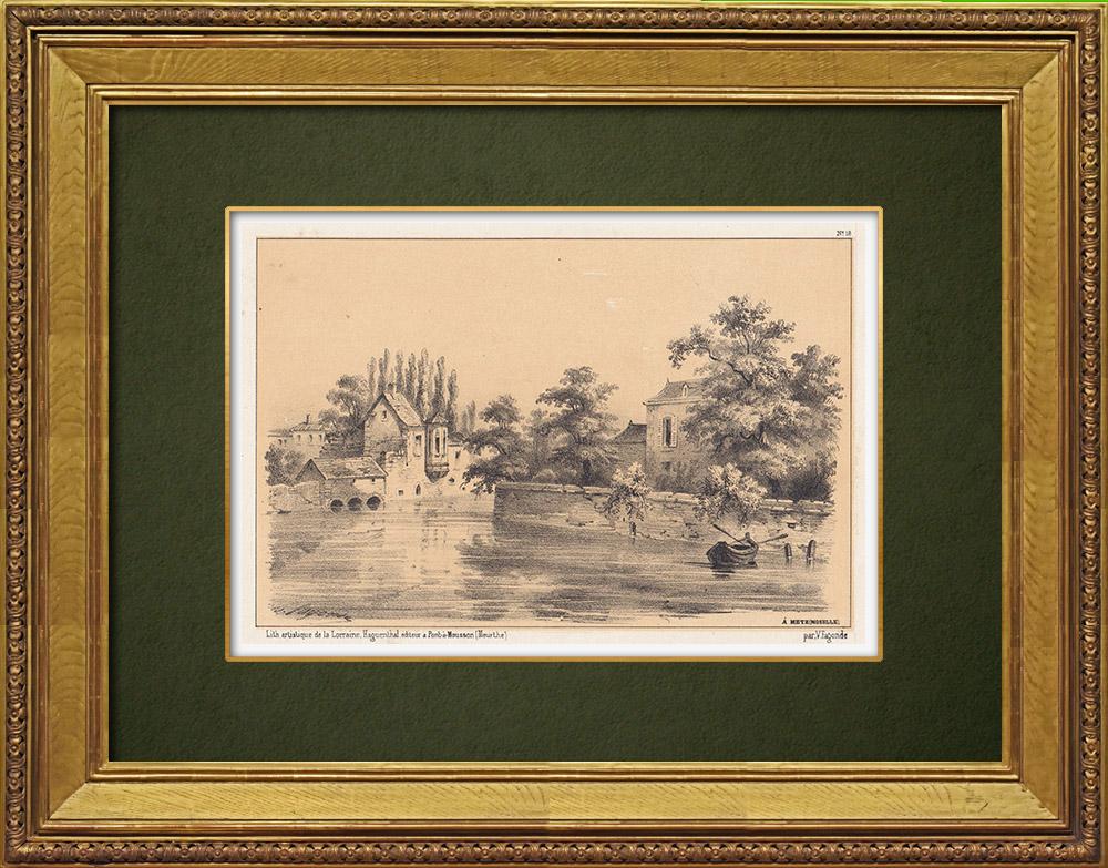 Gravures Anciennes & Dessins   Vue de Metz - Moselle (France)   Lithographie   1856