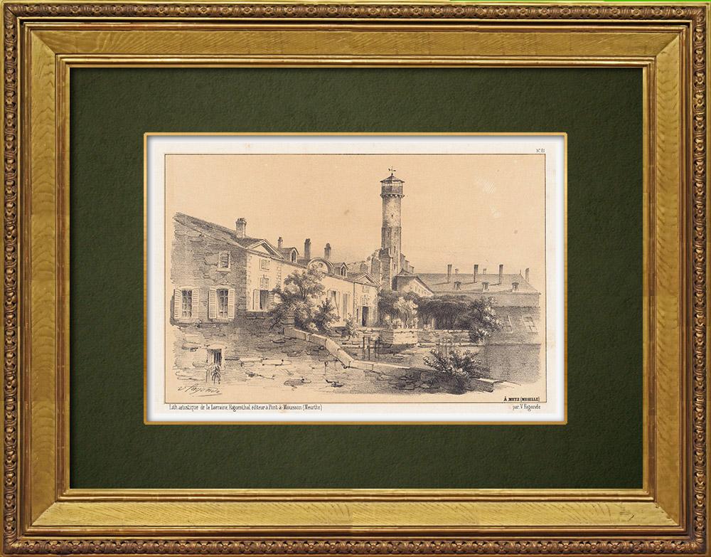 Gravures Anciennes & Dessins | Vue de Metz - Fort Moselle - Fortification - Lorraine - Moselle (France) | Lithographie | 1856